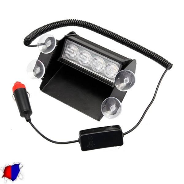 Φώτα Αστυνομίας 4 LED 12-24 Volt Μπλε & Κόκκινο για Παρμπρίζ με Βεντούζα GloboSt aytokinhto mhxanh fotismos oxhmaton fota led odikhs shmanshs