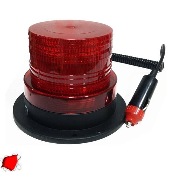 Φάρος LED 12-24 Volt DC Κόκκινος με Μαγνήτη Strobe GloboStar 88657 aytokinhto mhxanh fotismos oxhmaton fota led odikhs shmanshs