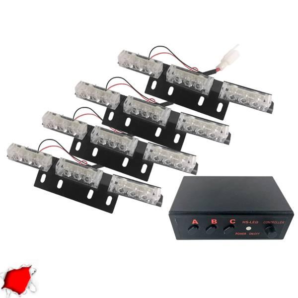 Φώτα Ασφαλείας LED 4 x 3 12-24 Volt DC Κόκκινο Εξωτερικά GloboStar 88945 aytokinhto mhxanh fotismos oxhmaton fota led odikhs shmanshs