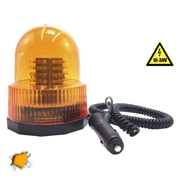 Φάρος Οδικής Βοήθειας 100 LED 10-30 Volt DC Πορτοκαλί με Μαγνήτη GloboStar 34227 aytokinhto mhxanh fotismos oxhmaton fota led odikhs shmanshs