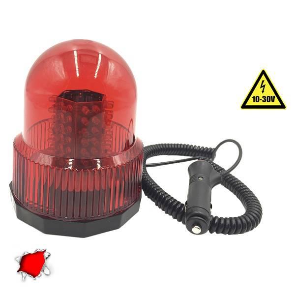 Φάρος Πυροσβεστικής 100 LED 10-30 Volt DC Κόκκινος με Μαγνήτη GloboStar 34228 aytokinhto mhxanh fotismos oxhmaton fota led odikhs shmanshs