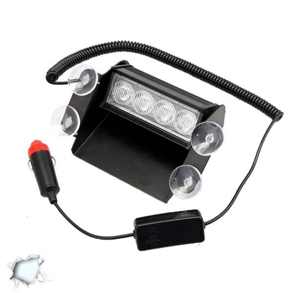 Φώτα Ασφαλείας 4 LED 12-24 Volt Λευκό για Παρμπρίζ με Βεντούζα GloboStar 40140 aytokinhto mhxanh fotismos oxhmaton fota led odikhs shmanshs