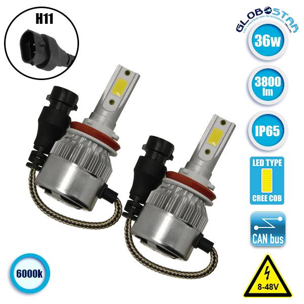 LED HID Kit H11 36 Watt 9-36 Volt DC 3600 Lumen 6000k C6 Economy Line GloboStar  aytokinhto mhxanh fotismos oxhmaton led hid kit