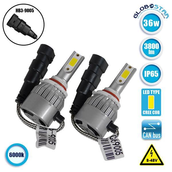 LED HID Kit HB3 9005 36 Watt 8-48 Volt DC 3800 Lumen 6000k C6 Economy Line Globo aytokinhto mhxanh fotismos oxhmaton led hid kit