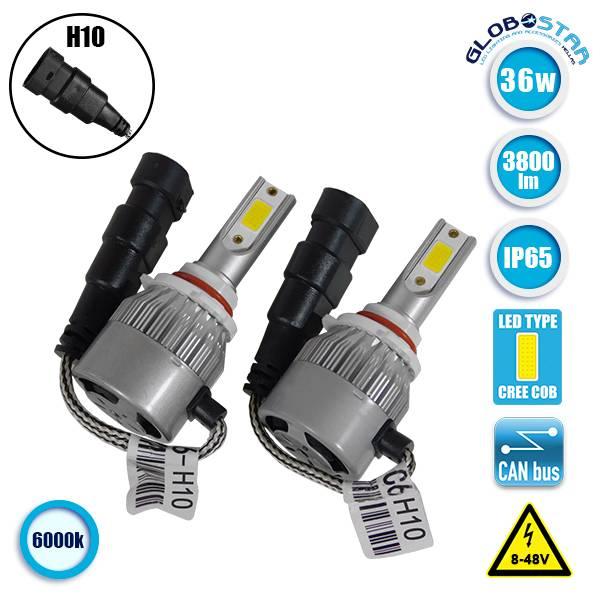 LED HID Kit H10 36 Watt 9-36 Volt DC 3600 Lumen 6000k C6 Economy Line GloboStar  aytokinhto mhxanh fotismos oxhmaton led hid kit