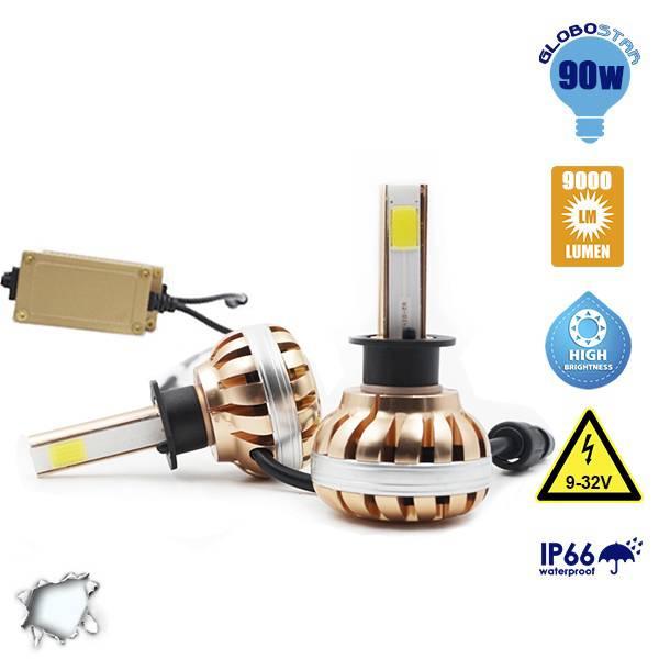 LED HID KIT H1 45 Watt 4500 Lumen 9-32 Volt DC 6000k GloboStar 99700 aytokinhto mhxanh fotismos oxhmaton led hid kit