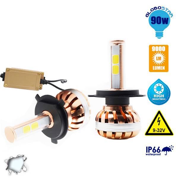 LED HID KIT H4 55 Watt 4500-5800 Lumen 9-32 Volt DC 6000k GloboStar 99702 aytokinhto mhxanh fotismos oxhmaton led hid kit