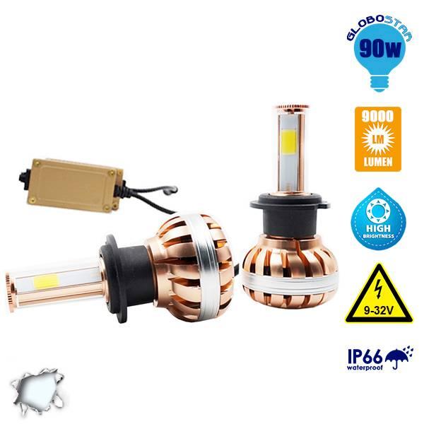 LED HID KIT H7 45 Watt 4500 Lumen 9-32 Volt DC 6000k GloboStar 99703 aytokinhto mhxanh fotismos oxhmaton led hid kit