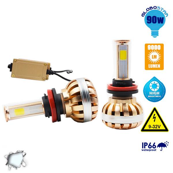 LED HID KIT H8 45 Watt 4500 Lumen 9-32 Volt DC 6000k GloboStar 99704 aytokinhto mhxanh fotismos oxhmaton led hid kit