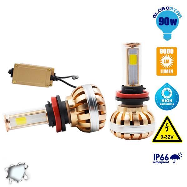 LED HID KIT H9 45 Watt 4500 Lumen 9-32 Volt DC 6000k GloboStar 99707 aytokinhto mhxanh fotismos oxhmaton led hid kit