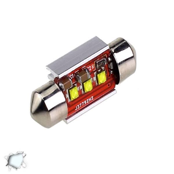 Σωληνωτός LED 36mm Can Bus με 3 CREE LED Ψυχρό Λευκό GloboStar 40170 aytokinhto mhxanh fotismos oxhmaton lampes led c5w