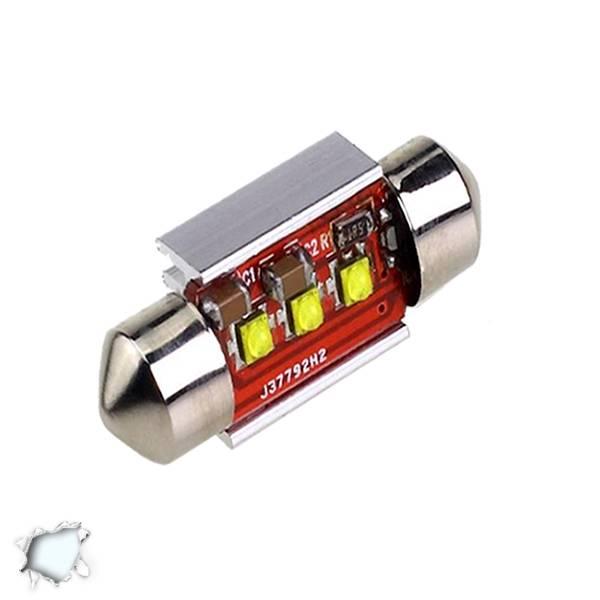 Σωληνωτός LED 39mm Can Bus με 3 CREE LED Ψυχρό Λευκό GloboStar 40171 aytokinhto mhxanh fotismos oxhmaton lampes led c5w