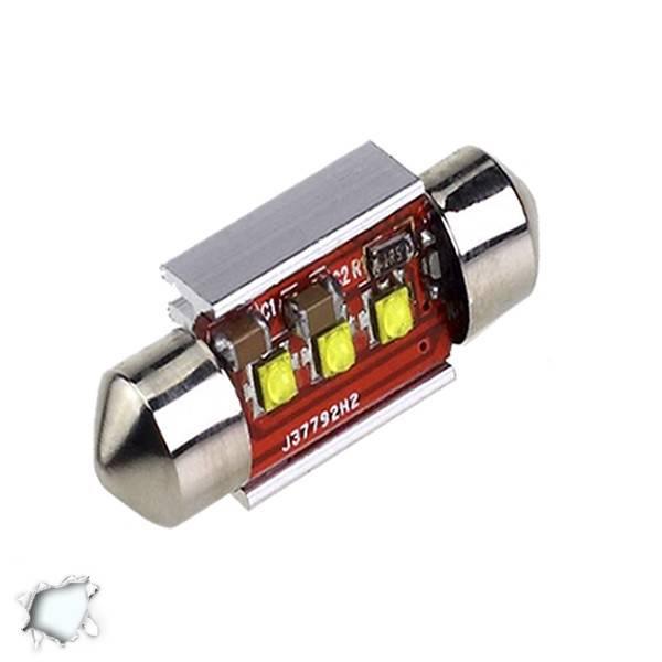 Σωληνωτός LED 42mm Can Bus με 3 CREE LED Ψυχρό Λευκό GloboStar 40172 aytokinhto mhxanh fotismos oxhmaton lampes led c5w
