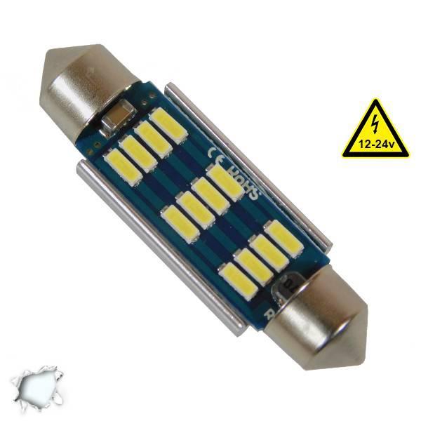Σωληνωτός LED 42mm Can Bus με 12 SMD 4014 Samsung Chip 12 Volt Ψυχρό Λευκό Globo aytokinhto mhxanh fotismos oxhmaton lampes led c5w
