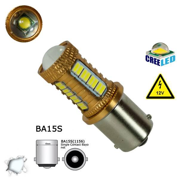 Λαμπτήρας 1156 32 SMD 4014 και 1 Cree LED Can Bus 12v Ψυχρό 6000k GloboStar 0447 aytokinhto mhxanh fotismos oxhmaton lampes led 1156