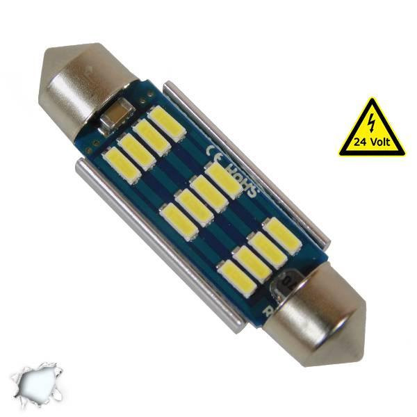 Σωληνωτός LED 42mm Can Bus με 12 SMD 4014 Samsung Chip 24 Volt Ψυχρό Λευκό Globo aytokinhto mhxanh fotismos forthgon lampes led forthgon