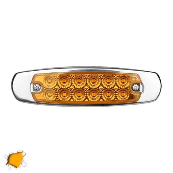 LED Πλευρικά Φώτα Όγκου Φορτηγών Αλουμινίου Νίκελ IP66 14 SMD 24 Volt Πορτοκαλί  aytokinhto mhxanh fotismos forthgon fota ogkoy