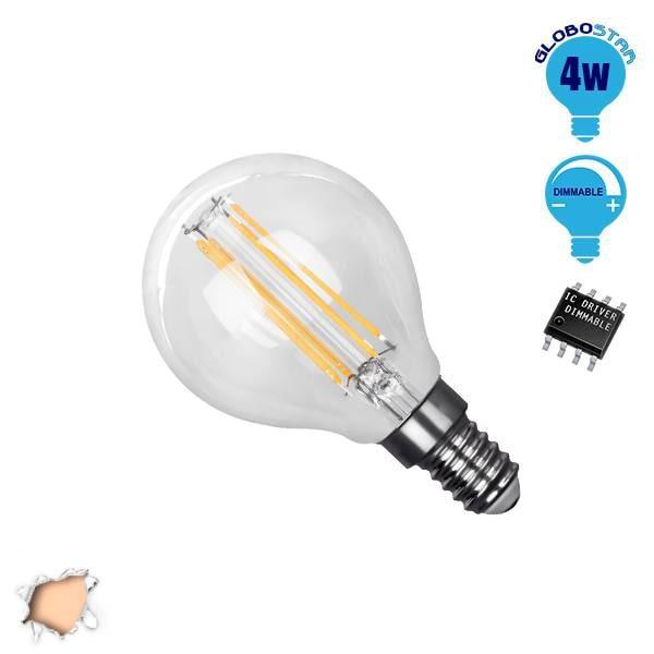 Γλομπάκι LED Edison Filament Retro E14 4 Watt g45 Θερμό Dimmable GloboStar 44006 hlektrologika fotismos led lampes bidotes e14