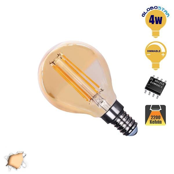 Γλομπάκι LED Edison Filament Retro Μελί E14 4 Watt g45 Θερμό Dimmable GloboStar  hlektrologika fotismos led lampes bidotes e14