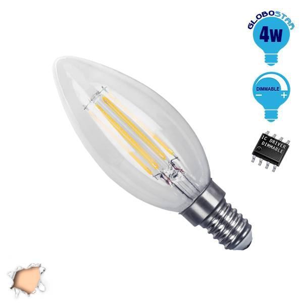 Κεράκι LED Edison Filament Retro E14 4 Watt c35 Θερμό Dimmable GloboStar 44002 hlektrologika fotismos led lampes bidotes e14