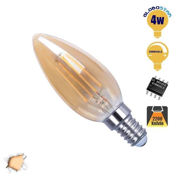 Κεράκι LED Edison Filament Retro Μελί E14 4 Watt c35 Θερμό Dimmable GloboStar 44 hlektrologika fotismos led lampes bidotes e14