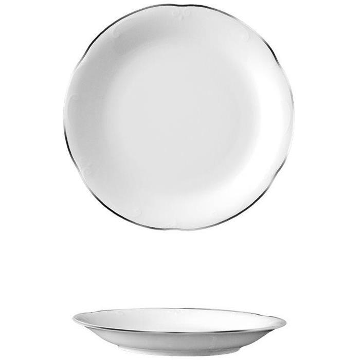 Πιάτο Ρηχό 19cm Πορσελάνης Van Kottler Kamelia Silver S-FP-19 Σετ 6τμχ