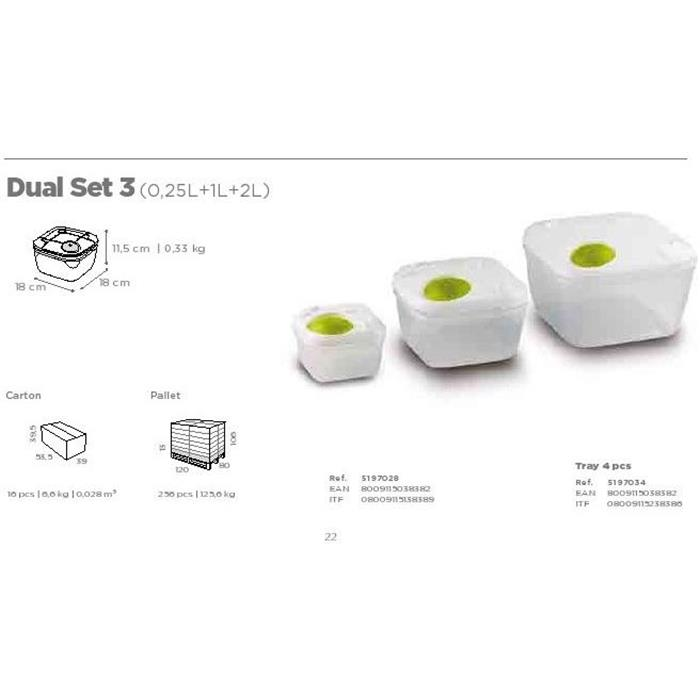 Φαγητοδοχεία Τετράγωνα Σετ 3τμχ Dual Tris 5197034 Gio Style