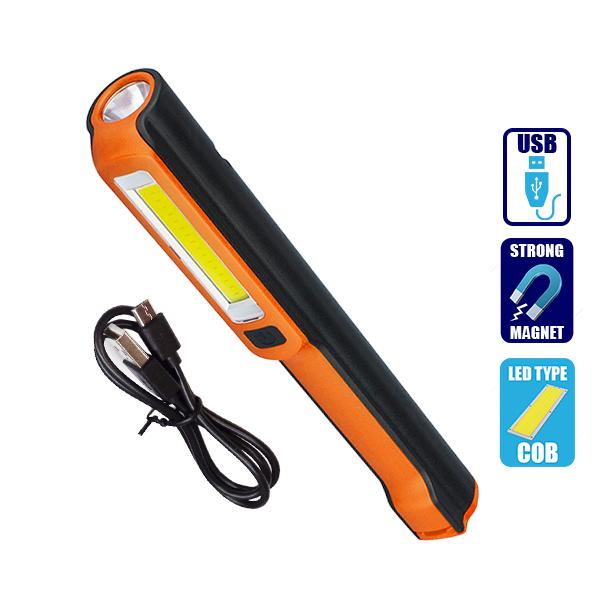 Φορητός Φακός Επαναφορτιζόμενος με Μπαταρίες PEN COB Led & Φορτιστή USB Πορτοκαλί Χρώμα GloboStar 07006