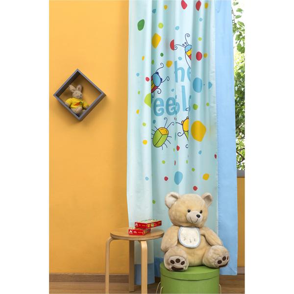 Παιδική Κουρτίνα 150x250cm με Τρέσσα & Δέστρα Αριστερή με Σχέδιο Μπάμπουρας Zouzounia ZOU-BD-077