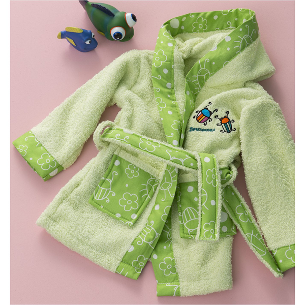 Μπουρνούζι Βρεφικό για 12-24 Μηνών με Σχέδιο Μπάμπουρας Χρώμα Πράσινο Zouzounia ZOU-BD-286