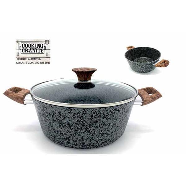 Χύτρα Πέτρας Granite No 28 Induction Bottom με Ξύλινη Λαβή 7lt Home&Style 0502028-6