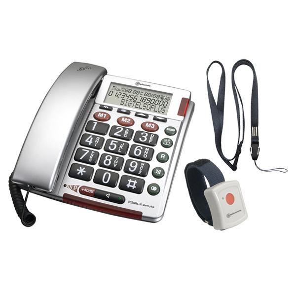Σταθερό Τηλέφωνο Amplicomms BigTel 50 Alarm Plus Ασημί