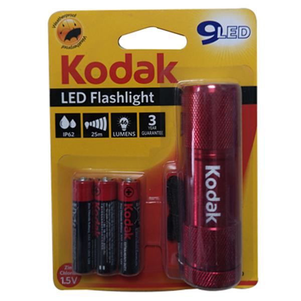 Φακός 9 Led Κόκκινος με Μπαταρίες 3xAAA Kodak 30412460